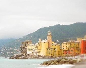 Italian coast photos Italian Riviera pictures Camogli Italy travel prints Seaside Liguria coast Beach Colorful buildings ocean prints red