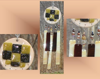 Chocolate Glass Windchime Cream Ceramic Wind Chime Garden Decor Stained Glass Window Suncatcher Hanging Mobile Pottery