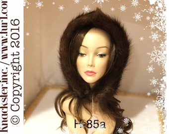H-85 Detachable New Brown Beaver Fur Hood Hat Cloche