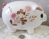vintage piggy ceramic bank, white pink flowers, Japan, 1980's, cottage chic, folklore, shabby, rosesandbutterflies, money bank, child's bank