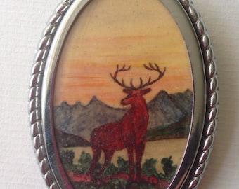 Vintage Hand Painted Elk Brooch