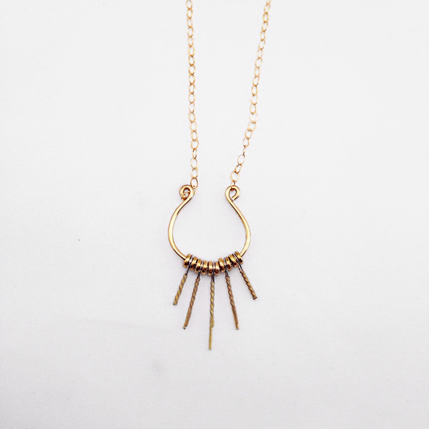 recycled guitar string jewelry necklace lyre necklace gold. Black Bedroom Furniture Sets. Home Design Ideas