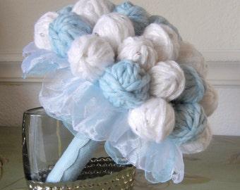 Yarn Ball Bouquet, Alternative Wedding Bouquet, Unique Bouquet, Something Blue, Yarn Lover, Chunky Bouquet
