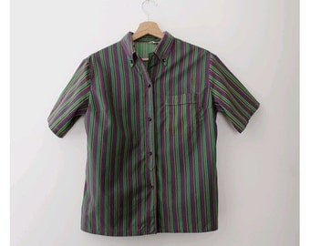 1960 french woman stripes Shirt small made in france