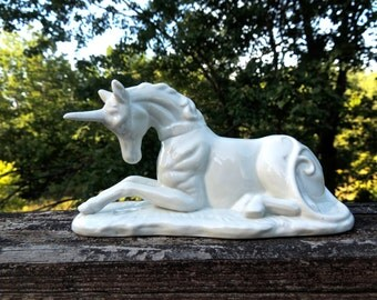 White Ceramic Unicorn.Medieval Fantasy Porcelain Unicorn Figurine.  Mythical Creatures.  - VC300