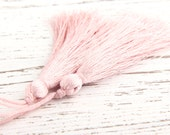 Powder Pink, Silk Thread Tassels, 2 pieces - Jewelry Supplies  // TAS-016