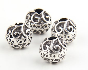 Silver Plated Weighty Round Beads, 14mm, 4 pieces //SB-073