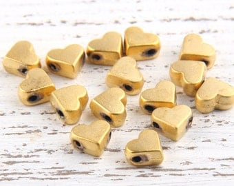Mini Gold Heart Bead Spacers, 22k Matte Gold Plated, 15 pieces // GB-152