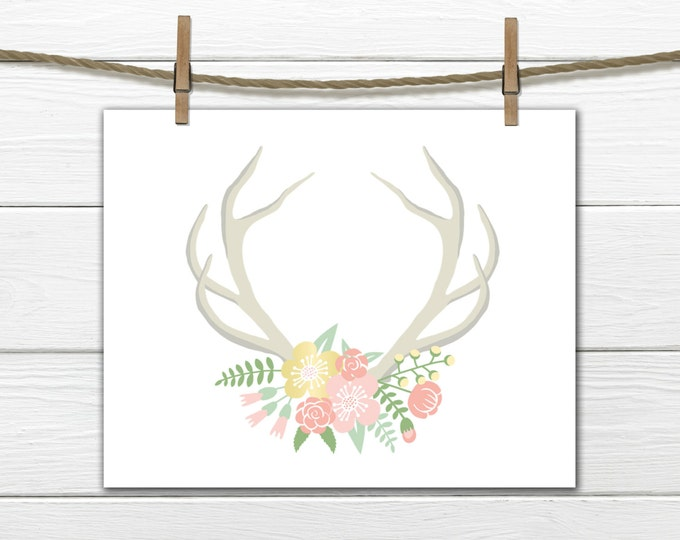 Antlers with Flowers - INSTANT Download PDF 8x10