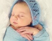 Newborn Photo Prop - Mohair Lace Bonnet - Hand Knit - 6 Colors Available - Request Others