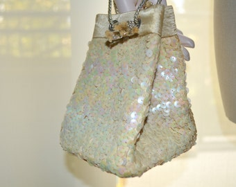 Sequined Bag, Small Vintage Handbag, Off White Women's Purse, Vintage Wedding Handbag, Small Bag, Off White Formal Purse with Sequins, Bride