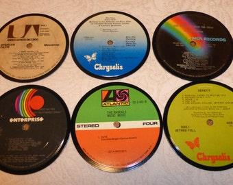 Vinyl Record Album LP Coasters set of 6 mixed artists #A8