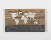 reclaimed wood world map with metal magnet holder
