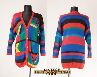 Bright Colorful Slouchy Cardigan  / Funky Clothing / Oversize Funny Hipster Cardigan Sweater /  extra large plus oversize