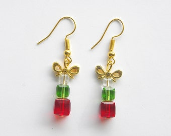 Holiday Gift Earrings - Christmas gift, holiday parcels, holiday sparkle earrings