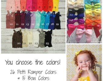 Lace Petti Rompers with Gorgeous Satin Bow - DIY Outfit - Your Choice of 26 Colors! PLEASE READ Listing for stock notes!