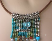 Silver tribal necklace.  Silver turquoise necklace.  African beaded necklace. African choker. Silver turquoise pendant.