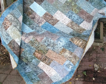 Quilt -Sandpiper Dreams Batik Quilt - Batik Lap Quilt - Beige and Teal Batik Quilt