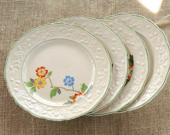 English Brambleberry Dinner Plates Set of 4, Hopewell China, Very Rare, Shabby Cottage, Tea Party, Farmhouse, Plates for Weddings