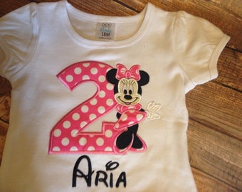 Personalized Girls Minnie Mouse birthday embroidered shirt