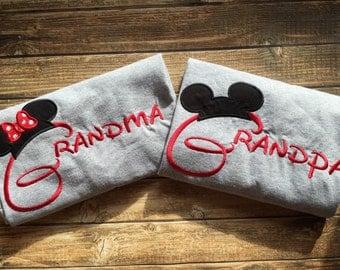 Matching Grandma and Grandpa Disney vacation shirts