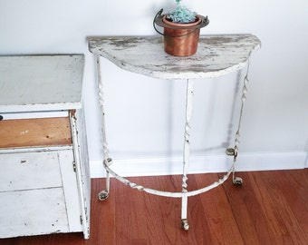 Vintage Indoor or Outdoor White Painted Iron Leg Table with White Wood Top