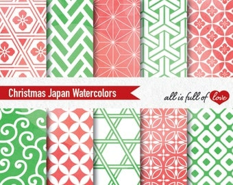Christmas Digital Paper Christmas Scrapbook Paper Watercolor Patterns Red Green Background Printable Paper Quatrefoil graphic Commercial Use