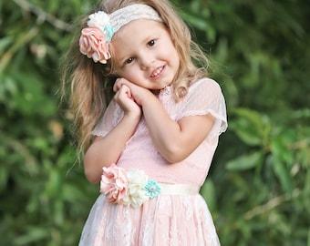 Flower Girl Sash and Headband
