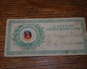 Victorian Era Gift Tag , Circa 1880