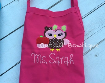 Owl Personalized Birthday Apron - Personalized Apron - Personalized Owl - Girl - Boy - Toddler - Teacher Apron