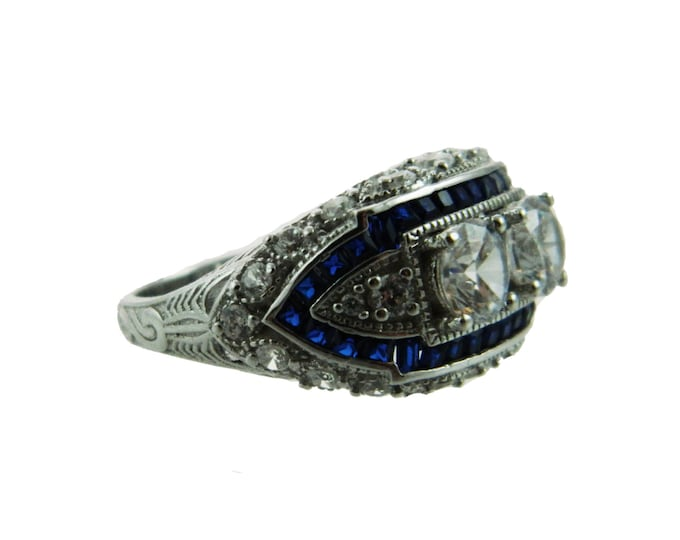 Featured listing image: Sterling Art Deco Ring with Simulated Sapphires and Diamonds