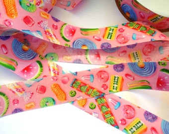 "Candy Delight Cotton Ribbon, Pink, 1 3/8"" inch wide, 1 yard, For Home Decor, Gift Baskets, Party Decorations, Mixed Media"
