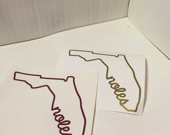 Florida State Outline Florida State Seminoles Noles Decal