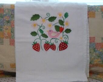 Strawberry and a Bird Flour Sack Dish Towel