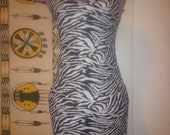 Black and white zebra striped dress spandex small