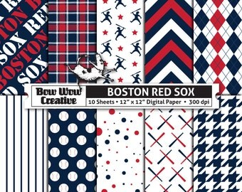 10 Boston Red Sox Digital Papers for Scrapbooking, Digital Paper, Digital Scrapbook Paper, Printable Sheets, Baseball, Patterns