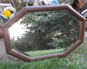 Mirror, Vintage Mirror, Brown Oblong Beveled Mirror, Vintage Wood Mirror, Vintage Home Decor, Home Decor, Country Decor, Farm house Decor