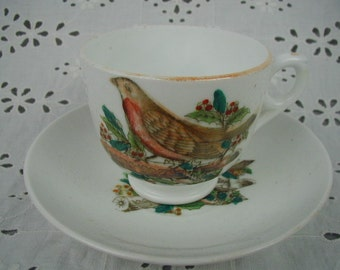 Vintage Antique Teacup and Saucer, Unmarked,White Porcelain with Gorgeous Bird and Berries, Luster Decoration