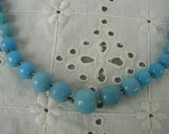 Vintage Robin's Egg Blue Necklace, Peking Glass Necklace, Choker Length