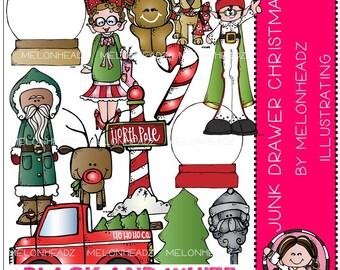 Christmas clip art - Junk Drawer - BLACK AND WHITE