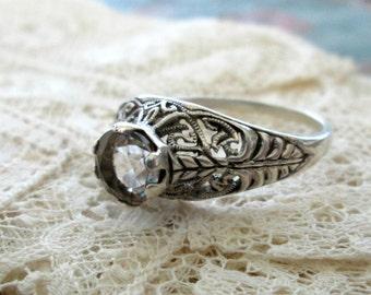 Art Deco Style Engagement Ring by Jenna Nicole, Sterling Silver, Quartz, Sz 9.5, Filigree Setting