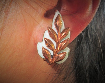 Matisse Renoir Copper Leaf Earrings, White Enamel and Copper, Mid Century Modern Jewelry, Signed Designer, 1950s Retro