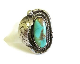 Navajo Turquoise Sterling Silver Feather Ring, SZ 5.5 Southwestern Boho