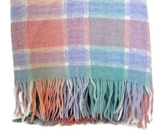 Faribo Wool Stadium Blanket,Plaid Pastels, Vintage Throw Blanket , Pink Blue Aqua