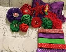 25 pc Little MermaidDIY Headband Kit -Includes: Clay,Flowers,Elastics,Bows,Felts & star shabby - Headband making kit - Makes 8 Headband