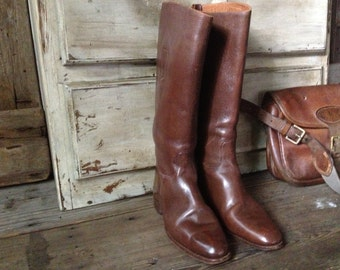 Brown Leather Riding Boots, Antique English Leather, Equestrian Boots Chestnut Dark Brown