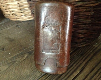 19th C English Leather Cigar Case, Embossed Registered Dated 1844, Chestnut Brown