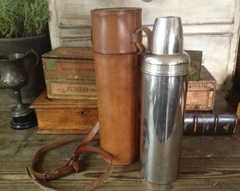 English Leather Flask Thermos Hunting Chestnut Brown Leather Case Antique Huntsman Flask