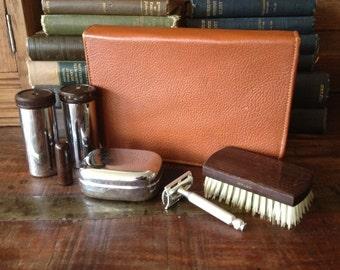 Mens Gilllette Shaving Kit, Travel Grooming Kit, Leather Case, Bakelite, Mid Century