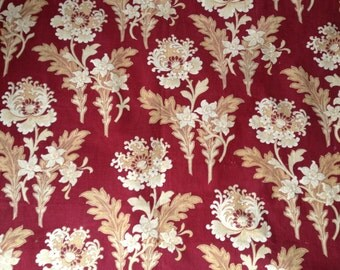 Red Floral Print Fabric, French Art Nouveau Bold 1900, Sewing Projects, French Fabric Textiles